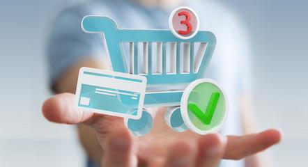 Businessman using digital shopping icons 3D rendering