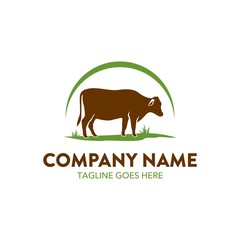 cattle farm logo illustration. vector. editable