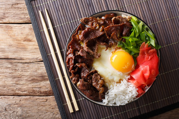 Gyudon beef with rice, egg and onion closeup in a bowl on the table. Horizontal top view