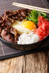 Beef with rice, egg and onion close-up in a bowl. vertical