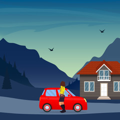 Private house in the mountains, cute red car and woman in the foreground. Traditional cottage in the mountains, vector illustration.
