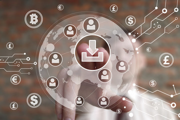 Businessman presses button download on virtual digital electronic user interface currencies
