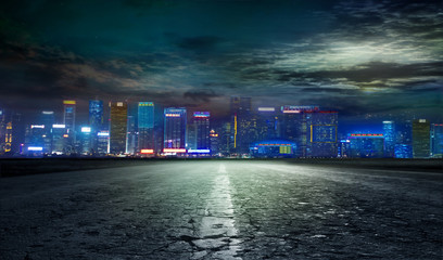asphalted road to the night city.