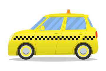 Cute yellow cartoon taxi car isolated on white background. Vector illustration.
