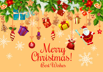 Christmas card with Xmas gift and New Year garland
