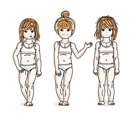 Different little girls cute children standing in white underwear. Vector kids illustrations set.