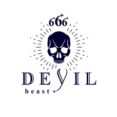 Vector black frightening dead head logo. Mystic infernal demon, evil Lucifer made with 666 numbers.