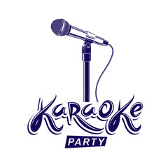Leisure and relaxation lifestyle presentation, karaoke party invitation poster created with stage microphone illustration.