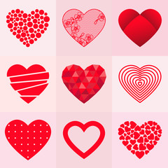 Set of 9 valentine hearts in different styles. Vector illustration.