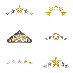 Royal Stars emblems elements set. Heraldic Coat of Arms decorative logos isolated vector illustrations collection.