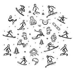 Snowboarding Freestyle Doodle Set