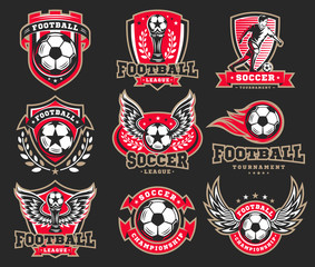 Soccer football logo, emblem collections, designs templates on a dark background