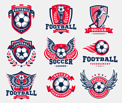 Soccer football logo, emblem collections, designs templates on a light background