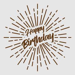 happy birthday text typography brown sun starburst circle retro vintage design