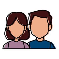 Couple faceless avatar icon vector illustration graphic design