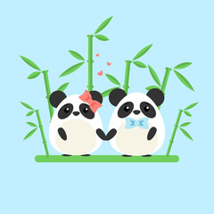 Vector illustration of panda couple in love with ornate bamboo isolated on blue background. Romantic design elements and heart symbols with animals in flat style for Valentine day