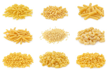 collection of italian pasta on white background