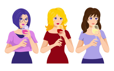 Vector type girls with wine. Evening, everyday, youth style. Women with a glass.