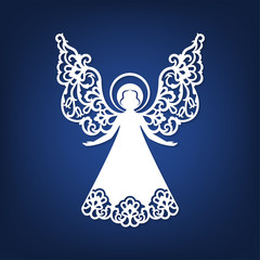Beautiful angel with ornamental wings and halo