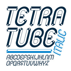 Vector upper case modern alphabet letters set. Artistic italic rounded font, typescript for use in logo creation. Made using cube tetra tube design.