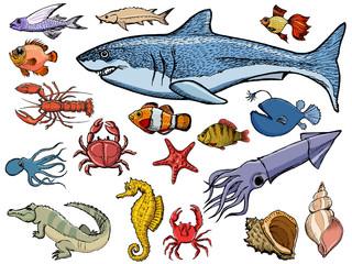 set of sea animals with shark, crab, squid