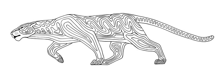 Decorative stylized panther wildcat. Vector wild animal. Isolated on white background.