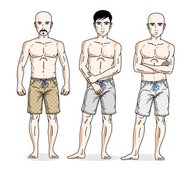 Handsome men standing wearing beach shorts. Vector people illustrations set.
