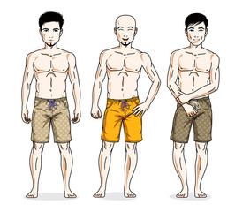 Handsome men standing wearing beach shorts. Vector people illustrations set. Lifestyle theme male characters.
