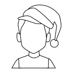 Man with christmas hat icon vector illustration graphic design