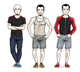 Confident handsome men posing in stylish sportswear, sportsman and fitness people. Vector set of beautiful people illustrations.
