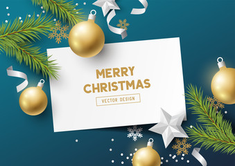 Festive Christmas Composition with fir branches, christmas baubles and snowflakes on a colorful abstract background. Top view vector illustration.