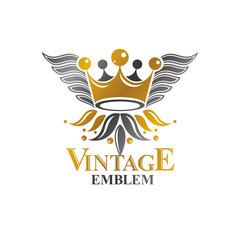 Imperial Crown emblem. Heraldic Coat of Arms, vintage vector logo. Antique logotype isolated on white background.