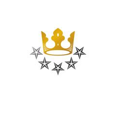 Royal Crown vector illustration. Heraldic decorative logo. Antique logotype isolated on white background.