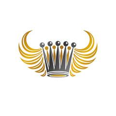 Imperial Crown vector illustration. Heraldic vintage logo. Antique logotype isolated оn white background.