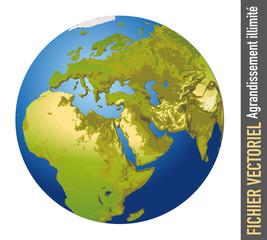 terre - globe - monde - planète - continent - Europe - Afrique - relief - Asie - océan - humanité - montagne - désert