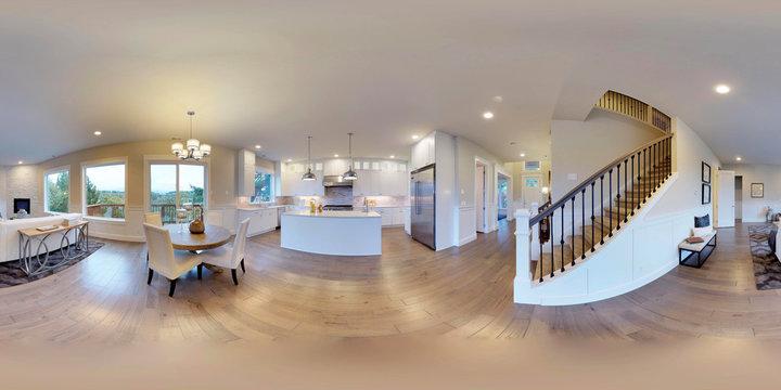 3d illustration spherical 360 degrees, seamless panorama of interior design