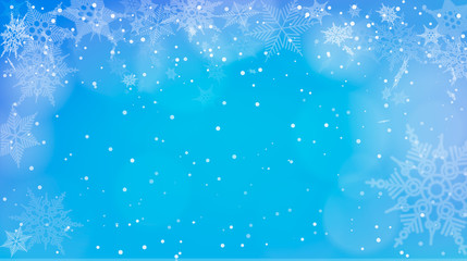 Blue background with snowfall.  illustration of blue winter background with snowfall.