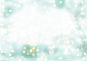 Festive holiday background with light delicate bokeh effect and drawing Decorative snow.