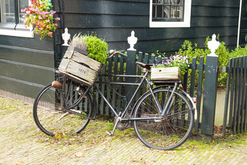 Dutch countryside view with retro bicycle