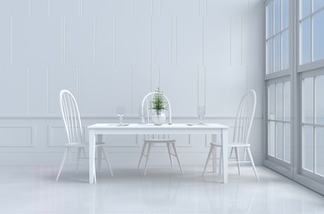 White eating room decorated with tree in vase glass,white chair and desk,window,flower,fork,spoon,wine  glass, White wall it is pattern, The sun shines through the window into the shadow. 3d render.