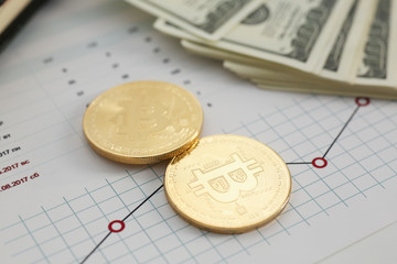 Coin crypto currency bitcoin against the