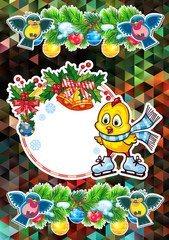 Holiday card with cute chicken and free space for your greeting Christmas text.