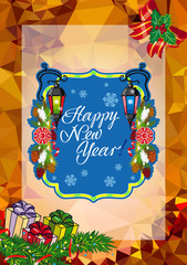 "Winter holiday card with vintage lanterns, pine branches and artistic written text ""Happy New Year!""."