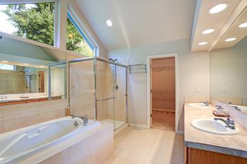 Bright and airy master bathroom interior