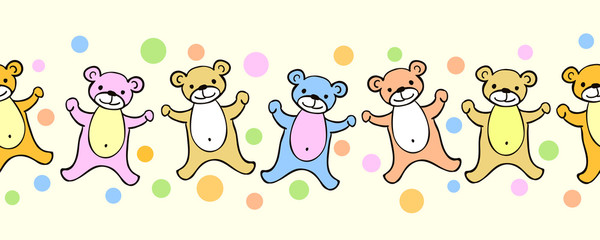 Funny teddy bears seamless pattern or border with dots. Cute vector cartoon illustration for kids. Soft pastel color bear frame background for children.