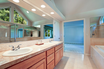 Bright and airy master bathroom interior
