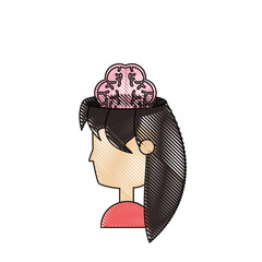 woman head and brain icon