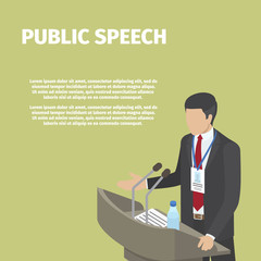 Businessman Stands behind Podium on Public Speech