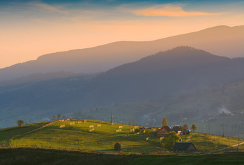 Alpine carpathian mountain village
