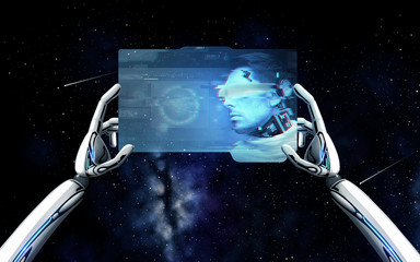 robot hands with cyborg on tablet pc over space